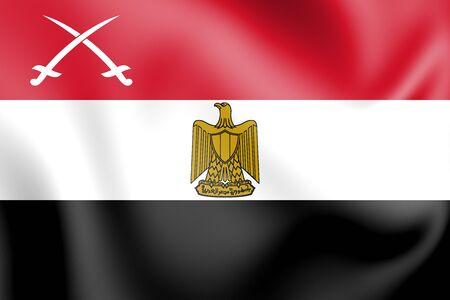 bandera de egipto: 3D Flag of Army of Egypt. 3D Illustration.