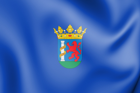 3D Flag of Badajoz Province, Spain. 3D Illustration.