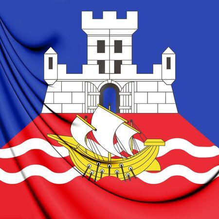 3D Flag of Belgrade, Serbia. 3D Illustration.