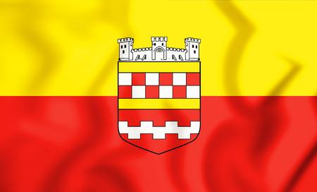 3D Flag of Bergneustadt (North Rhine-Westphalia), Germany. 3D Illustration.    Stock Photo