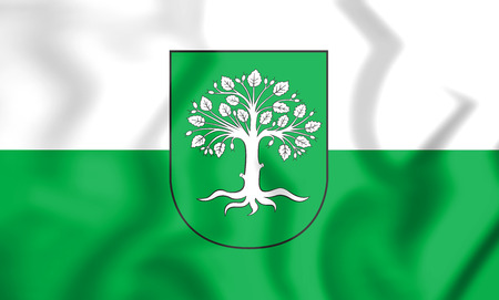 3D Flag of Bocholt (North Rhine-Westphalia), Germany. 3D Illustration.
