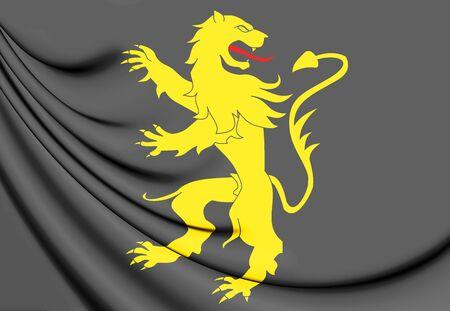 3D Flag of Ceredigion County, Wales. 3D Illustration.
