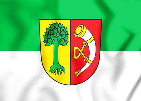 3D Flag of Friedrichshafen (Baden-Wurttemberg), Germany. 3D Illustration.