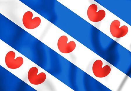 3D Vlag van Friesland, Nederland. 3D Illustratie.