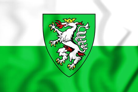 steiermark: 3D Flag of Graz (Styria), Austria. 3D Illustration.