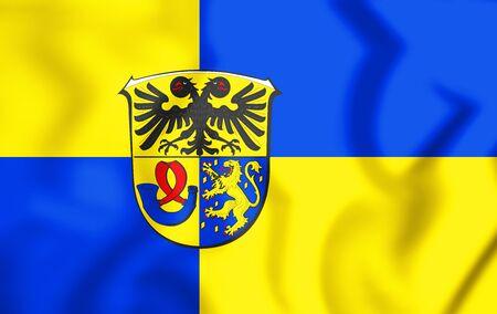 3D Flag of Lahn-Dill Kreis (Hesse), Germany. 3D Illustration.
