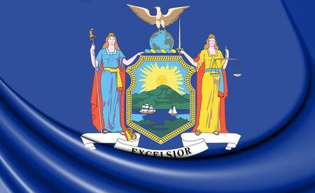 3D Flag of New York State, USA. 3D Illustration.