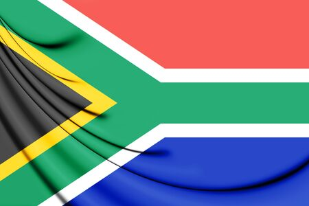 3D Flag of the South Africa. 3D Illustration.