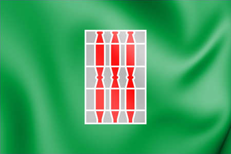 3D Flag of Umbria, Italy. 3D Illustration.