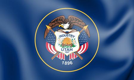 3D Flag of Utah, USA. 3D Illustration.