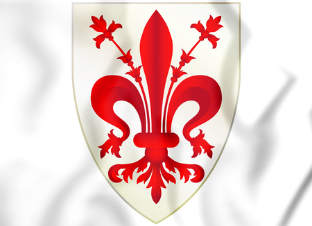 3D Florence coat of arms, Italy. 3D Illustration. Stock Photo