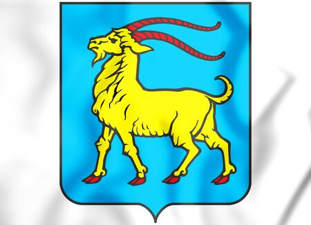 3D Istria County coat of arms, Croatia. 3D Illustration.