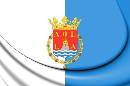 3D Flag of Alicante City, Spain. 3D Illustration.