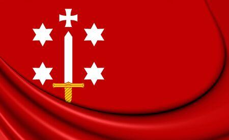 3D Flag of Haarlem (North Holland), Netherlands. 3D Illustration.