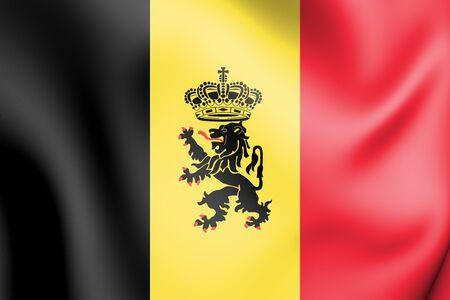 rendered: 3D Government Ensign of Belgium. 3D Illustration.