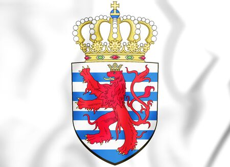 rendered: 3D Luxembourg coat of arms. 3D Illustration.