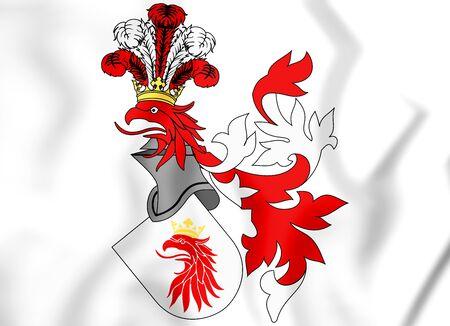 rendered: 3D Malmo Coat of Arms, Sweden. 3D Illustration.