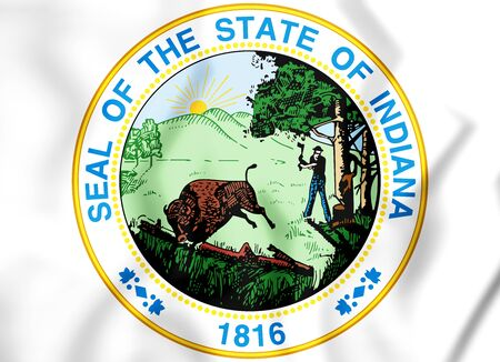 rendered: 3D State Seal of Indiana, USA. 3D Illustration.