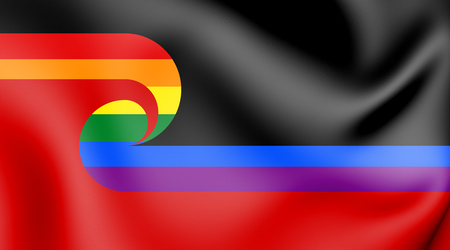 Tino Rangatiratanga LGBT Flag of the Maori sovereignty movement. 3D Illustration. Stok Fotoğraf