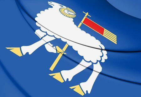3D Flag of Gotland County, Sweden. 3D Illustration. Stock Photo