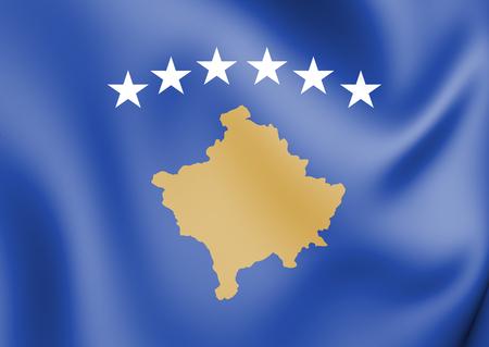 3D Flag of Kosovo. 3D Illustration. Stock Photo