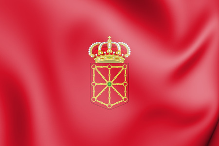 3D Flag of Navarra, Spain. 3D Illustration.