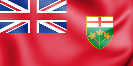 3D Flag of Ontario, Canada. 3D Illustration. Stock Photo
