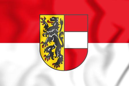 3D Flag of Salzburg, Austria. 3D Illustration. Stock Photo