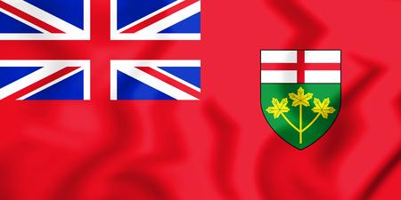 3D Flag of Ontario, Canada. 3D Illustration. Фото со стока