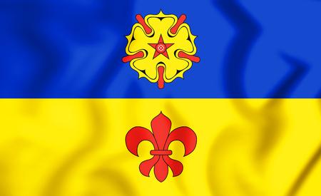 3D Flag of Kevelaer (North Rhine-Westphalia), Germany. 3D Illustration Stock Photo