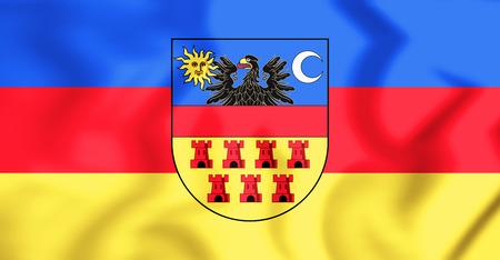 rumanian: 3D Flag of Transylvania. 3D Illustration.