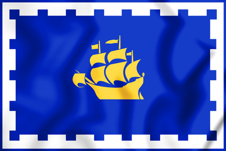 3D Flag of the Quebec City, Canada. 3D Illustration. Stock Photo