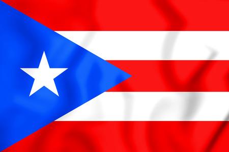3D Vlag van Puerto Rico. 3D illustratie.