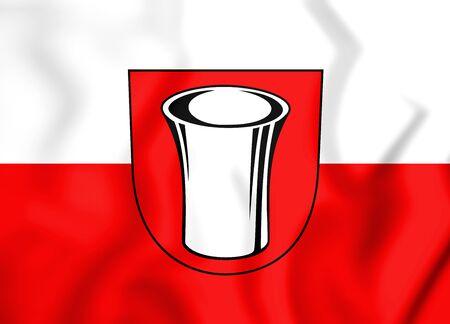 3D Flag of Messstetten (Baden-Wurttemberg), Germany. 3D Illustration. Stock Photo