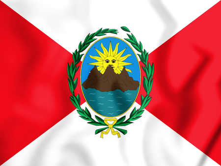 3D First republican flag of the Peru (1821-1822). 3D Illustration. Stock Photo