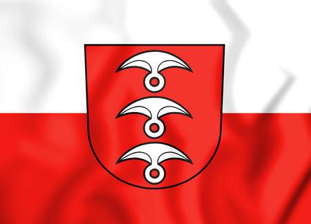 3D Flag of Fellbach (Baden-Wurttemberg), Germany. 3D Illustration.
