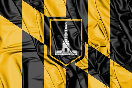 rendered: 3D Flag of Baltimore (Maryland), USA. 3D Illustration. Stock Photo