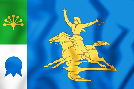 3D Flag of Salavat (Bashkortostan), Russia. 3D Illustration.
