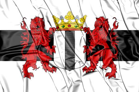3D Flag of Delft (South Holland), Netherlands. 3D Illustration.