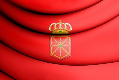3D Flag of Navarre, Spain. 3D Illustration.