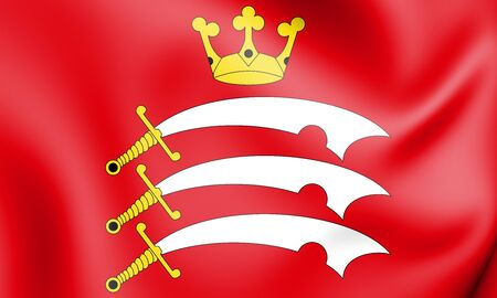 rendered: 3D Flag of Middlesex, England. 3D Illustration. Stock Photo