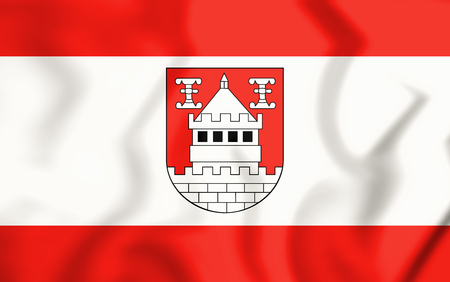3D Flag of Isselburg (North Rhine-Westphalia), Germany. 3D Illustration.
