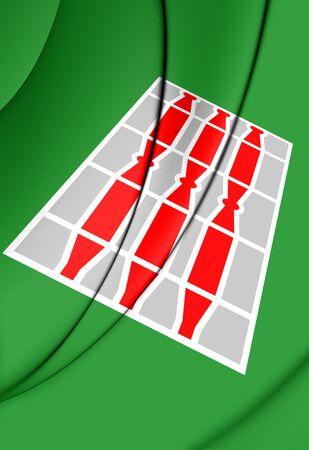 rendered: 3D Flag of Umbria, Italy. 3D Illustration.