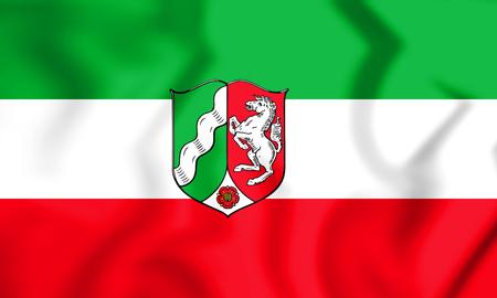3D Flag of North Rhine-Westphalia, Germany. 3D Illustration.