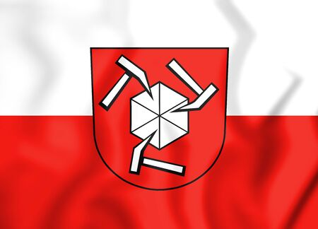 rendered: 3D Flag of Beilstein (Baden-Wurttemberg), Germany. 3D Illustration.