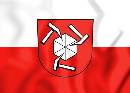 3D Flag of Beilstein (Baden-Wurttemberg), Germany. 3D Illustration.