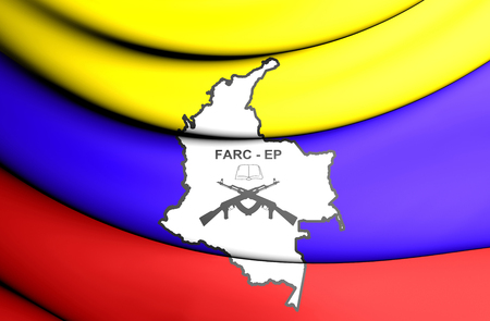3D Flag of the FARC-EP. 3D Illustration. Stock Photo