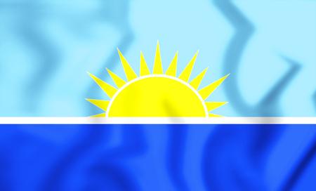 la: 3D Flag of Riohacha, Colombia. 3D Illustration. Stock Photo