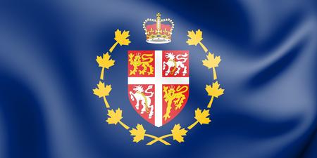 3D Flag of Lieutenant Governor of Newfoundland and Labrador, Canada. 3D Illustration. Stock Photo