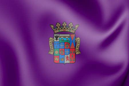 3D Flag of Palencia Province, Spain. 3D Illustration